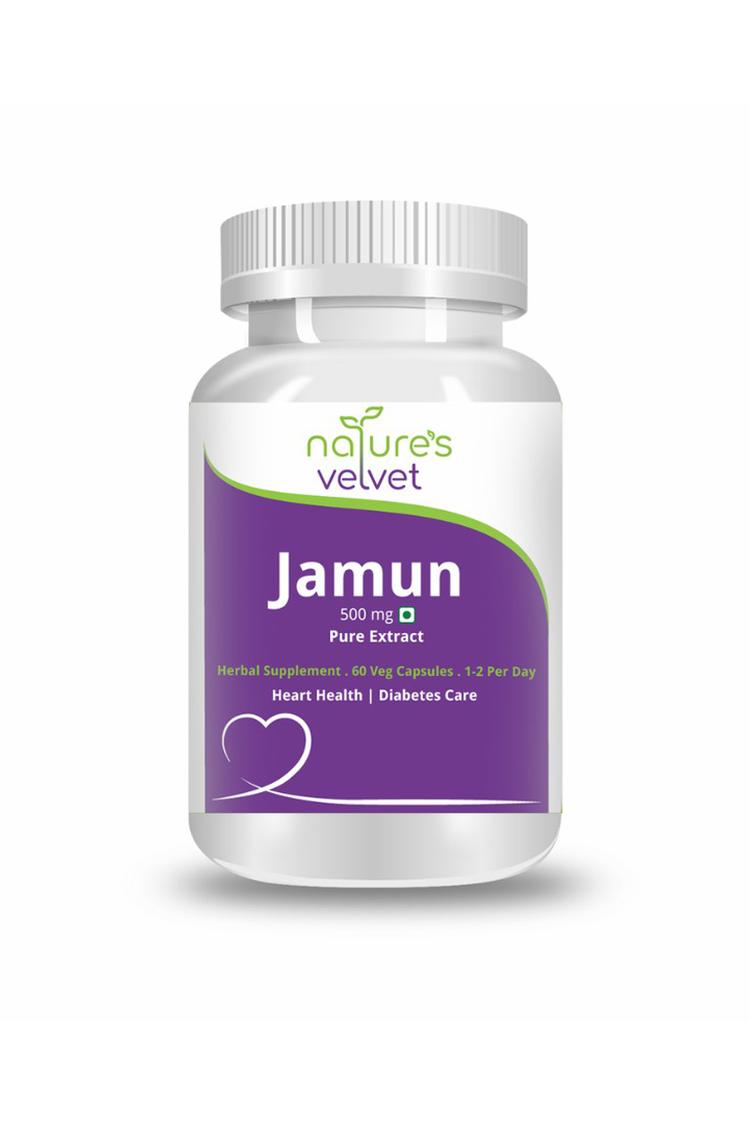 Natures Velvet Jamun Pure Extract 500 Mg 60 Capsules