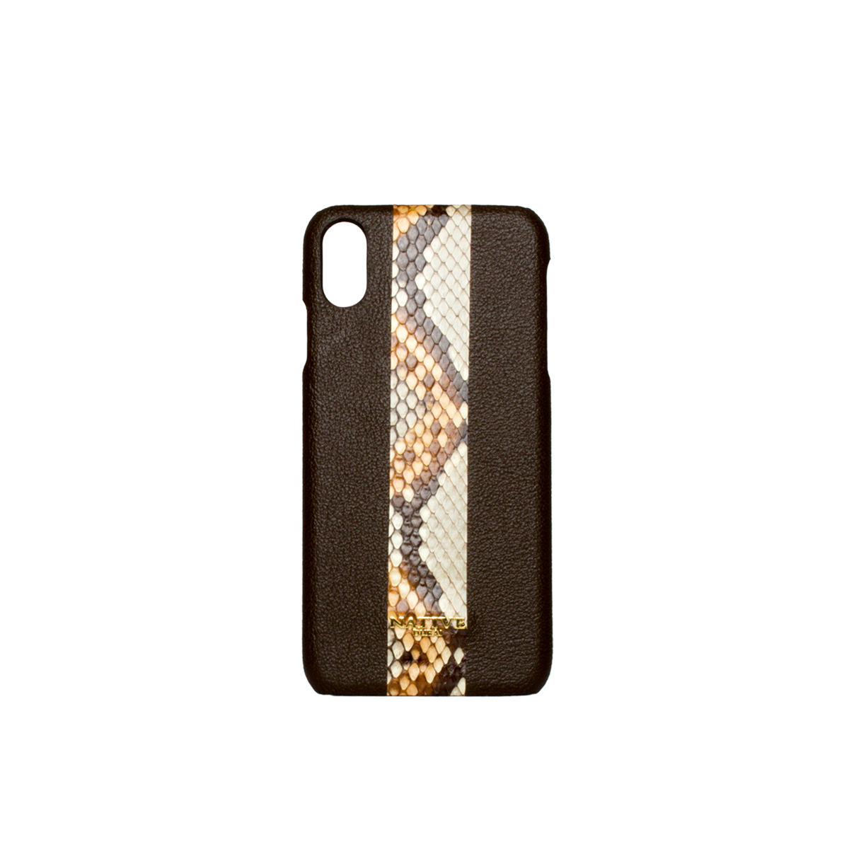Phone Cases, iPhone XS Case in Camel hide & python in Brown