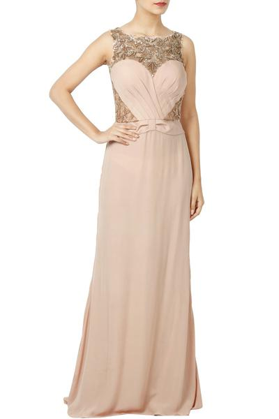 Gowns, Clothing, Carma, Peach Hand Work Embellished Gown ,  ,  ,