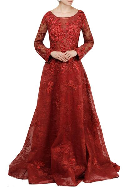 Gowns, Clothing, Carma, Maroon embellished ball gown ,  ,