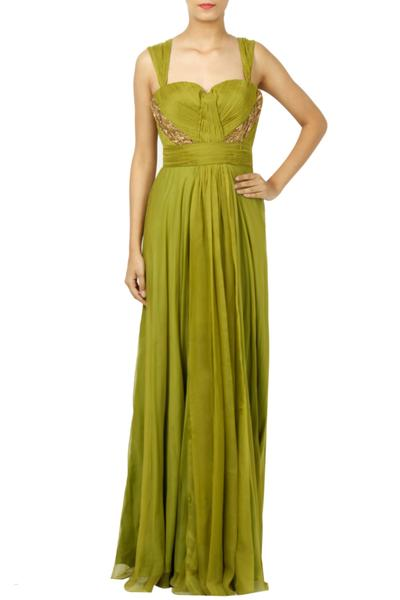 Gowns, Clothing, Carma, Green Pleated Gown ,  ,  ,