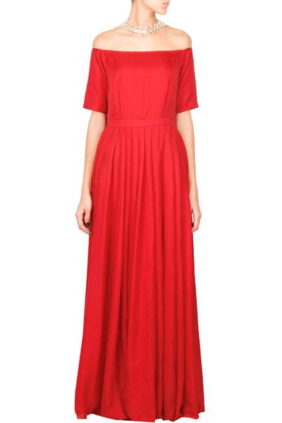 Gowns, Clothing, Carma, Candy red off shoulder gown ,