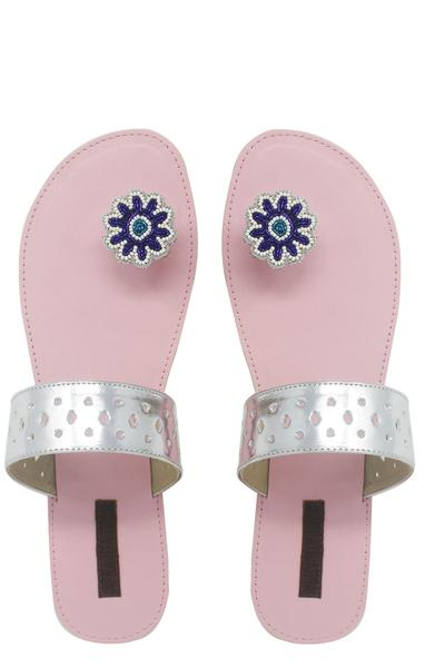 Flat Sandals, Footwear, Accessories, Carma, Pale Pink Embellished Leather Flats ,  ,