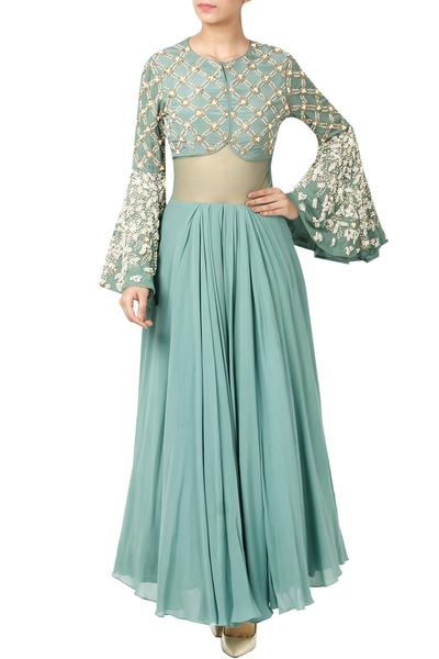 Gowns, Clothing, Carma, Autumn Green Sheer Paneled Embellished Gown ,  ,  ,