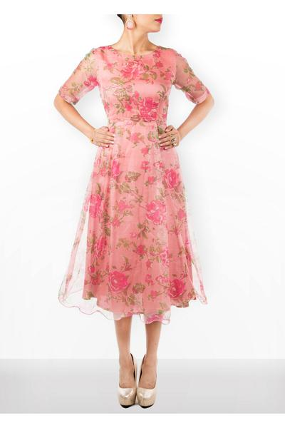 Dresses, Clothing, Carma, Pink floral printed midi dress ,  , Bachelorette , Cocktail , Organa dress with shanton lining  , India , Dry clean Only ,