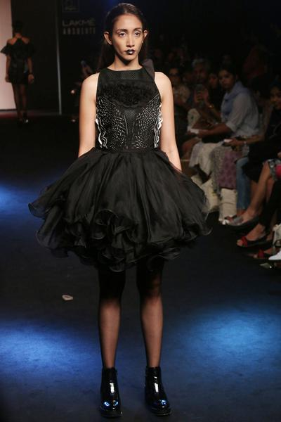 Dresses, Clothing, Carma, Black applique work textured bodice ruffled dress ,