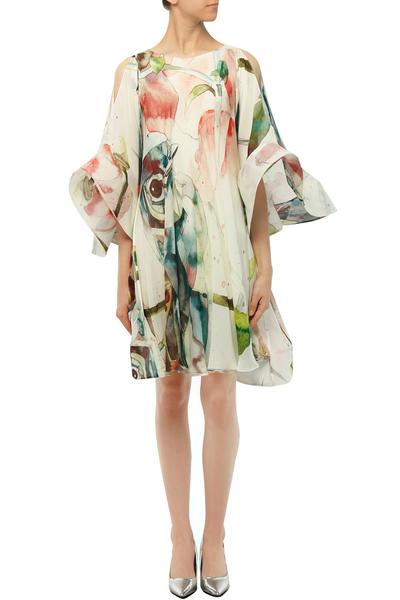 Dresses, Clothing, Carma, White bird print flared sleeves trapeze dress ,