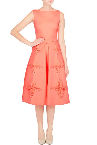 Dresses, Clothing, Carma, Coral Box Pleated Clover Appliqued Dress ,