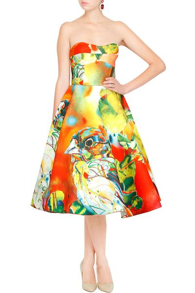 Dresses, Clothing, Carma, Multicolored Bird Printed Strapless Dress ,