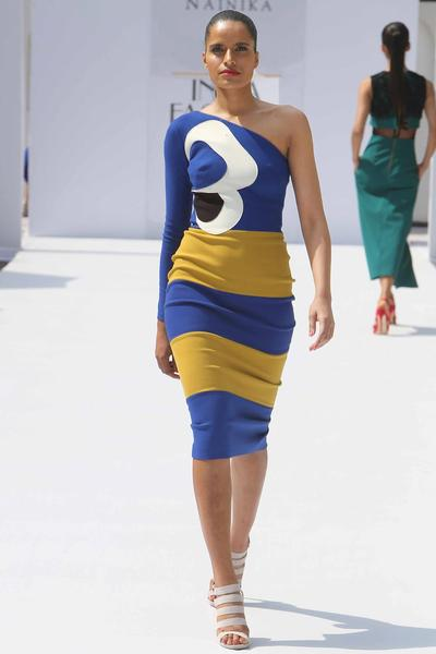 Dresses, Clothing, Carma, Cobalt blue and mustard striped pansy dress ,