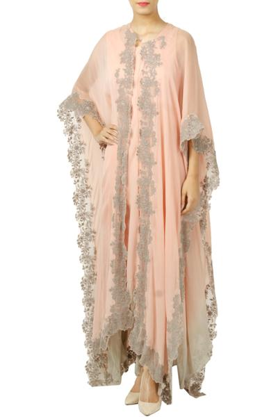 Kurtas and Sets, Clothing, Carma, Pastel Pink Dress With Floral Embroidered Cape