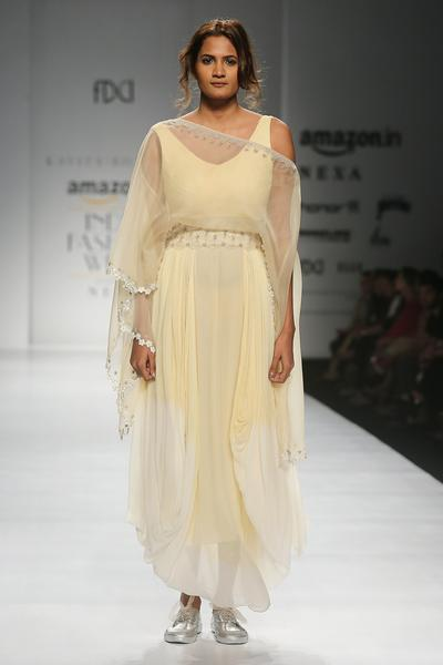 Dresses, Clothing, Carma, Gold And White Ombre Cowl Dress With Attached Cape ,  ,  ,