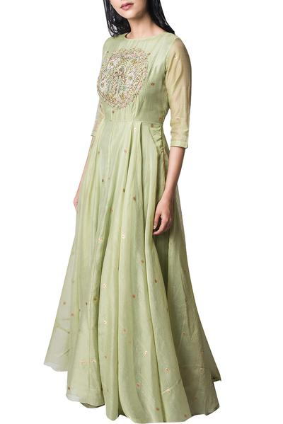 Dresses, Clothing, Carma, Pista green resham embroidered maxi dress ,  ,  ,