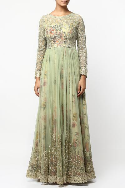 Gowns, Clothing, Carma, Green floral print layered anarkali kurta ,