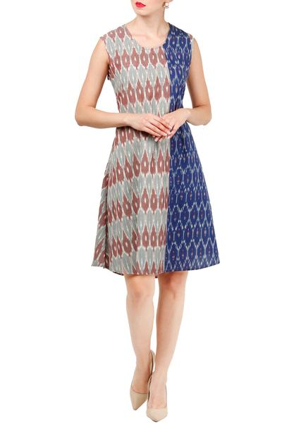 Dresses, Clothing, Carma, Grey and blue ikkat dress ,  ,