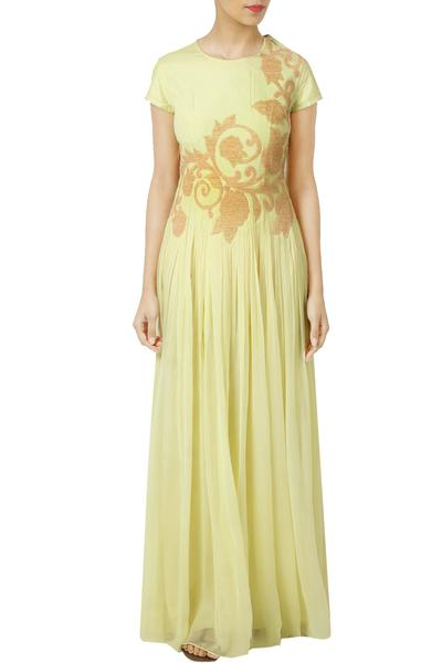 Dresses, Clothing, Carma, Pale Yellow Embellished Maxi Dress ,  ,  ,