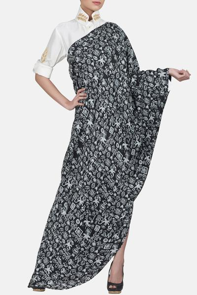 Dresses, Clothing, Carma, Black printed dress with white shirt ,  ,