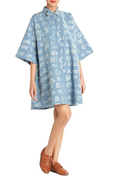 Dresses, Clothing, Carma, Powder Blue Text Print Denim Dress ,  ,