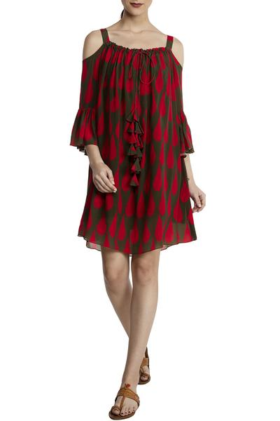 Dresses, Clothing, Carma, Olive And Red Printed Dress ,  ,