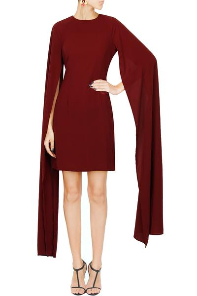 Dresses, Clothing, Carma, Oxblood oversized draped sleeves short dress ,  ,