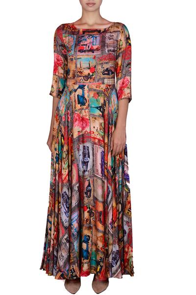 Dresses, Clothing, Carma, Earthy Brown Printed Maxi Dress