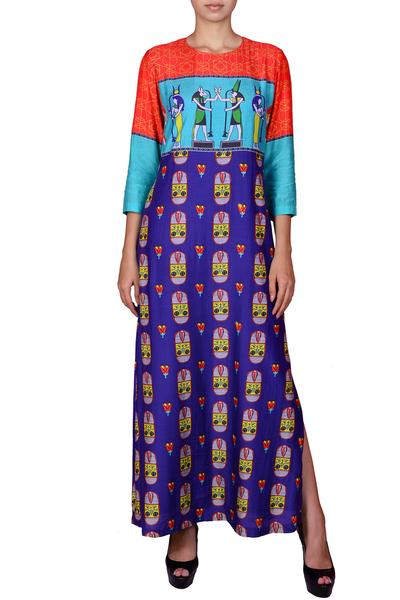 Dresses, Clothing, Carma, Multicolor abstract print maxi dress ,  ,  ,