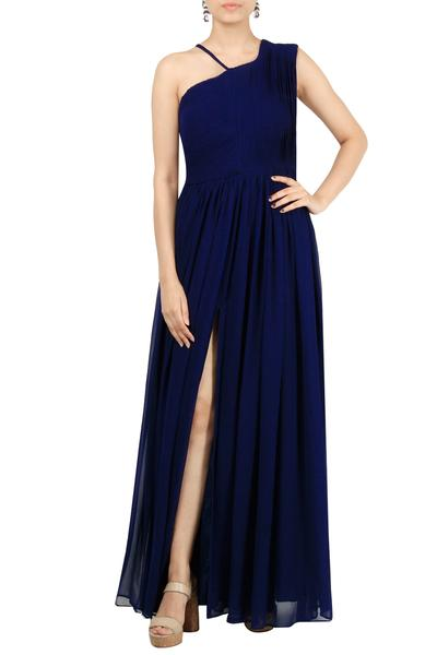 Gowns, Clothing, Carma, Blue pleated gown ,  ,  ,
