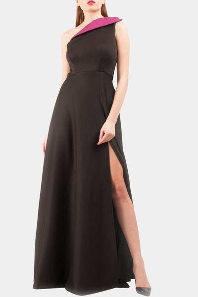 Gowns, Clothing, Carma, Black one shoulder gown ,  ,