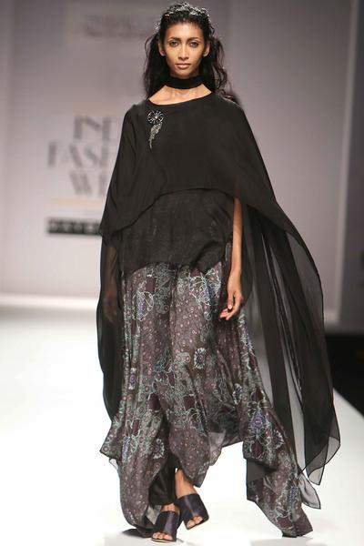 Dresses, Clothing, Carma, Grey printed maxi with cape set ,  ,