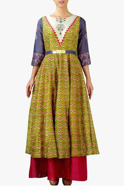 Dresses, Clothing, Carma, Olive and pink printed layered dress ,  ,