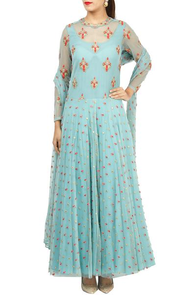 Gowns, Clothing, Carma, Blue embroidered gown with dupatta ,  ,  ,