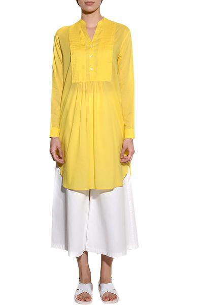 Dresses, Clothing, Carma, Yellow Pleated Pintuck Tunic Dress ,  ,