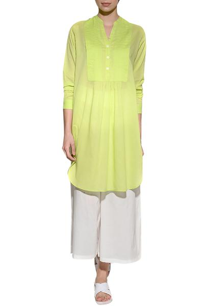 Dresses, Clothing, Carma, Lime Green Pleated Pintuck Tunic Dress ,  ,
