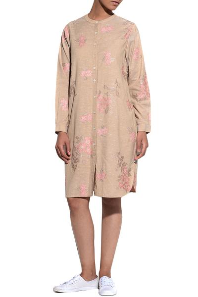 Dresses, Clothing, Carma, Beige Floral Embroidered Shirt Dress ,  ,