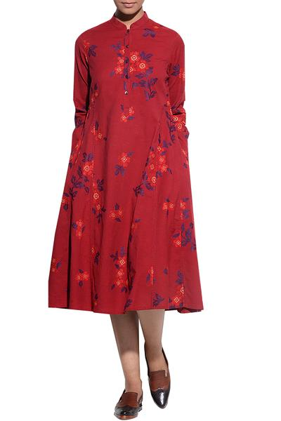 Dresses, Clothing, Carma, Rust Floral Embroidered Flared Dress ,  ,