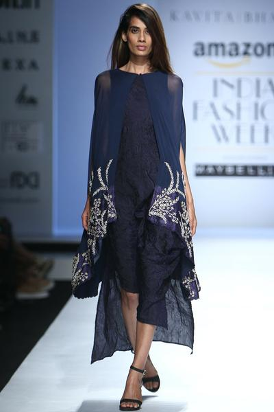 Dresses, Clothing, Carma, Midnight Blue Dress With Embroidered Cape ,  ,  ,