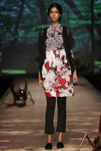 Dresses, Clothing, Carma, Ivory and red floral dress with sheer cardigan and black pants ,