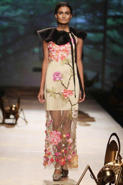 Gowns, Clothing, Carma, Nude straight hydrangea gown with floral applique work ,