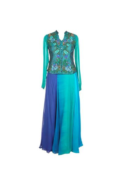 Gowns, Clothing, Carma, Blue Embellished Gown ,  , Layered skirt with jacket , Evening,Festive , Cocktail,Reception, Engagement,Wedding,Bridesmaids , Ethnic , Georgette, Brocade , India , Dryclean Only ,  , Long Dresses