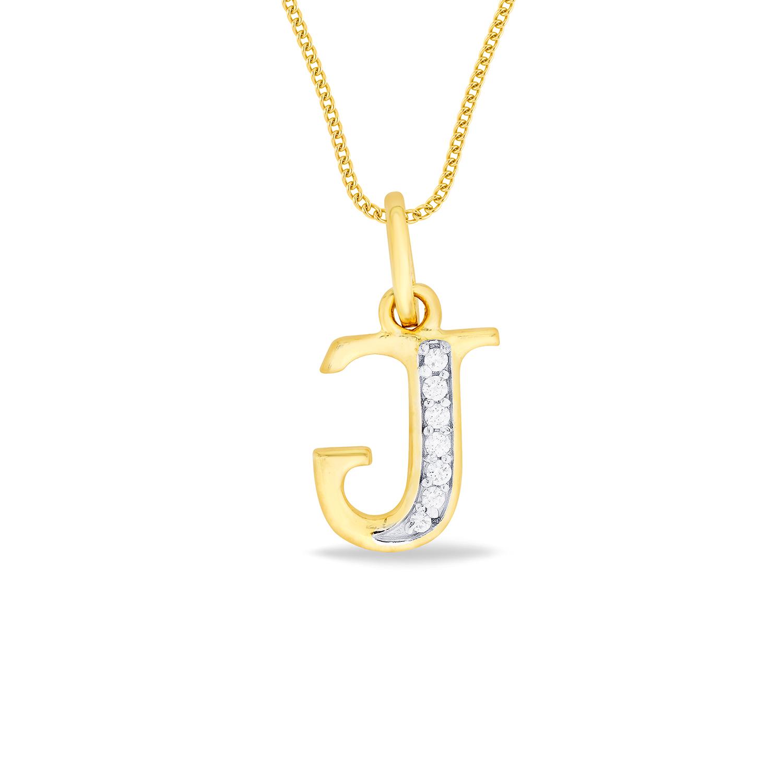 Gold Single Chain Pendant Alphabet J Gold Pendant
