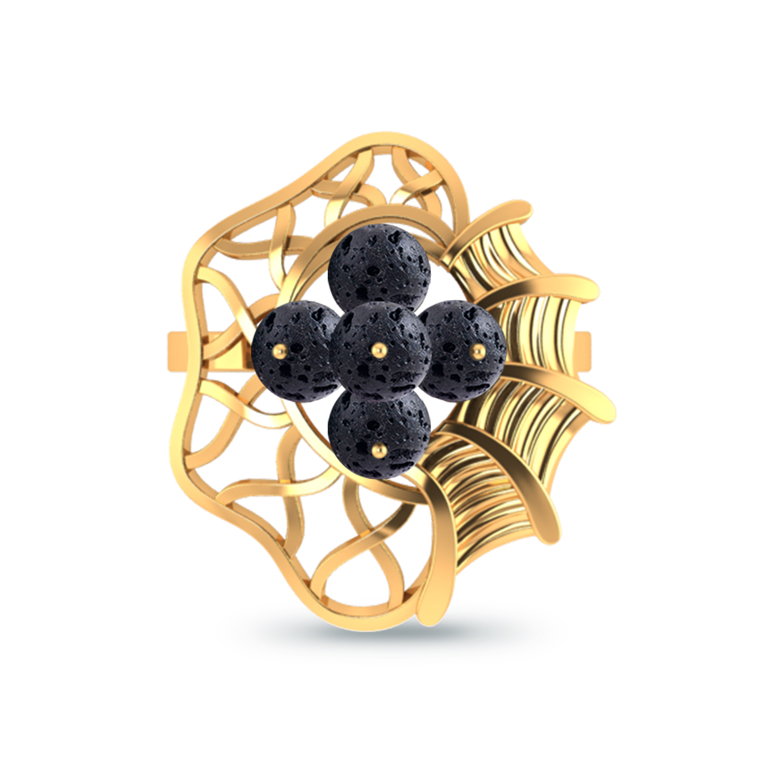 Gold Rings, Reticular Lava Gold Ring