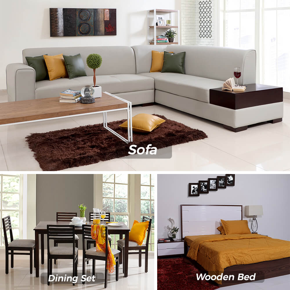 Classic Modular Kitchen Cabinets Rs 18000 Piece: Combo Deals, Lukas Queen Bed + Eastern Dining Set 1+6