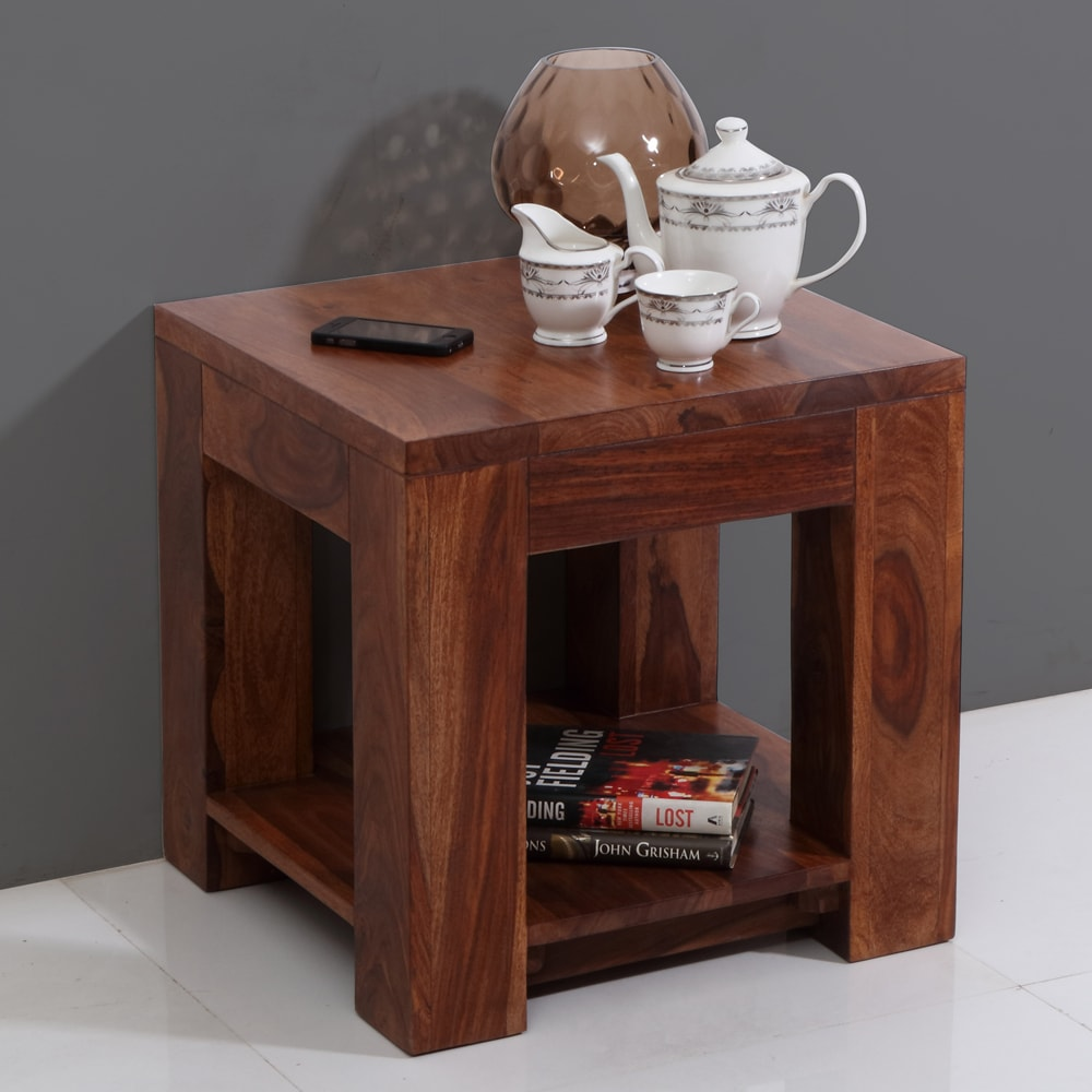 Light Walnut Wood Caleb Accent Table: Centre And End Tables, Vermount Solid Wood End Table With