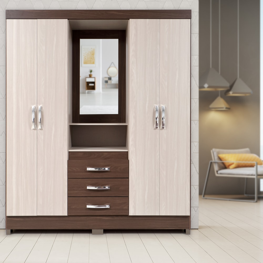 Buy 4 Door Wooden Wardrobe With Mirror And Drawers Online