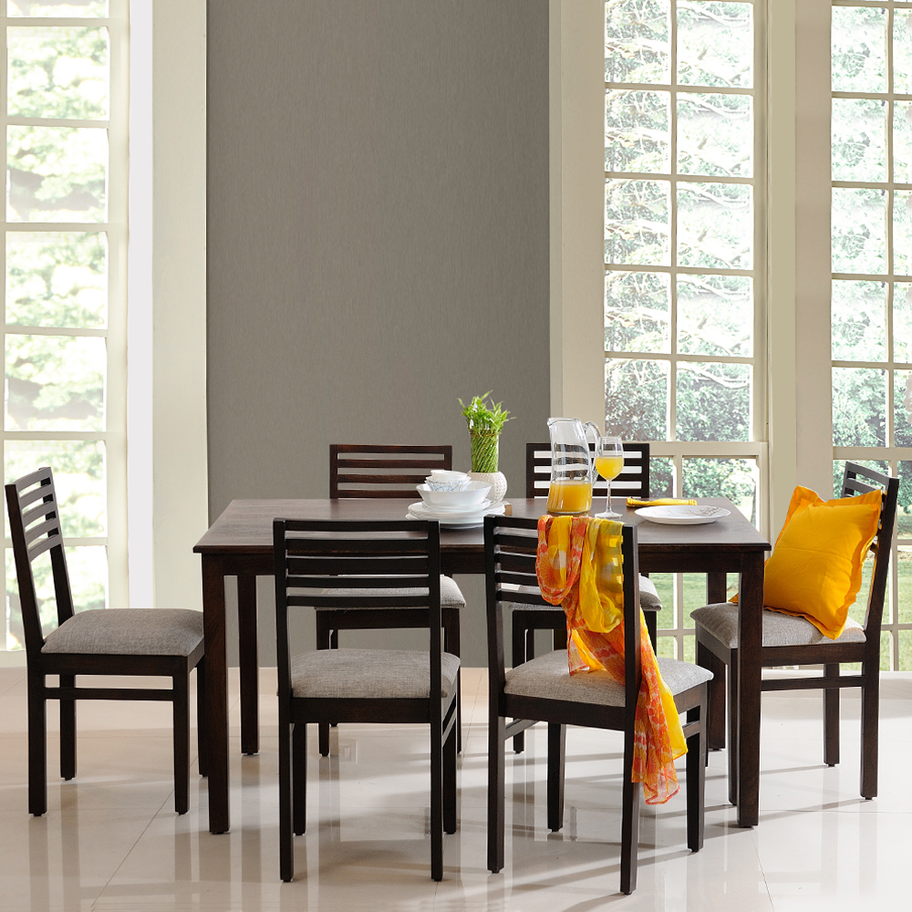 Solid Wood Dining Table By H F: Solid Wood Six Seater Dining Table Online @Evok